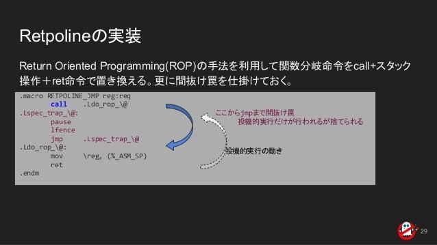 Retpolineの実装 Return Oriented Programming(ROP)の手法を利用して関数分岐命令をcall+スタック 操作+ret命令で置き換える。更に間抜け罠を仕掛けておく。 29 .macro RETPOLINE_JM...