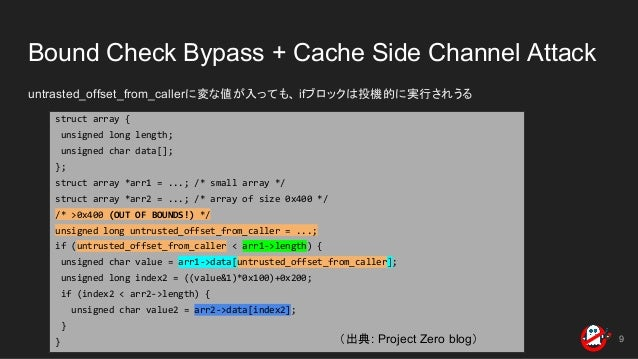 Bound Check Bypass + Cache Side Channel Attack untrasted_offset_from_callerに変な値が入っても、 ifブロックは投機的に実行されうる 9 struct array { u...