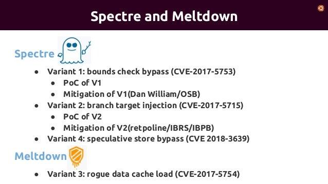 Spectre(v1%2 fv2%2fv4) v.s. meltdown(v3)