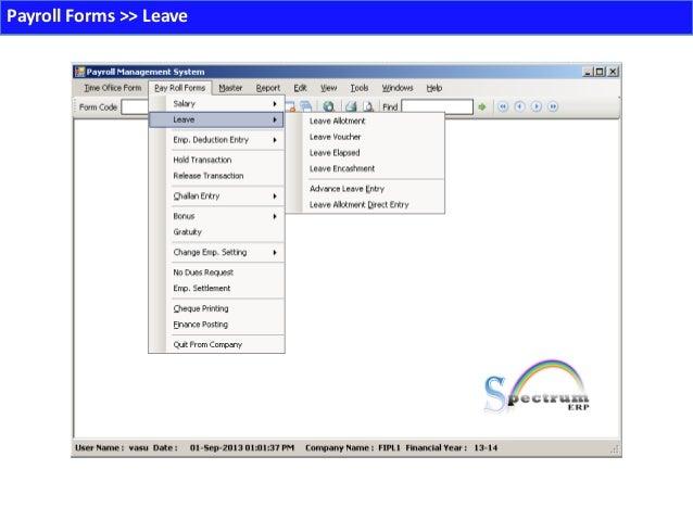 Spectrum payroll Management – Payroll Receipt