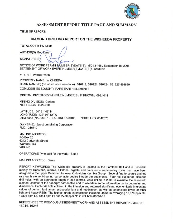 DIAMOND DRILLING REPORT                                  ON THE                        WICHEEDA PROPERTY                  ...