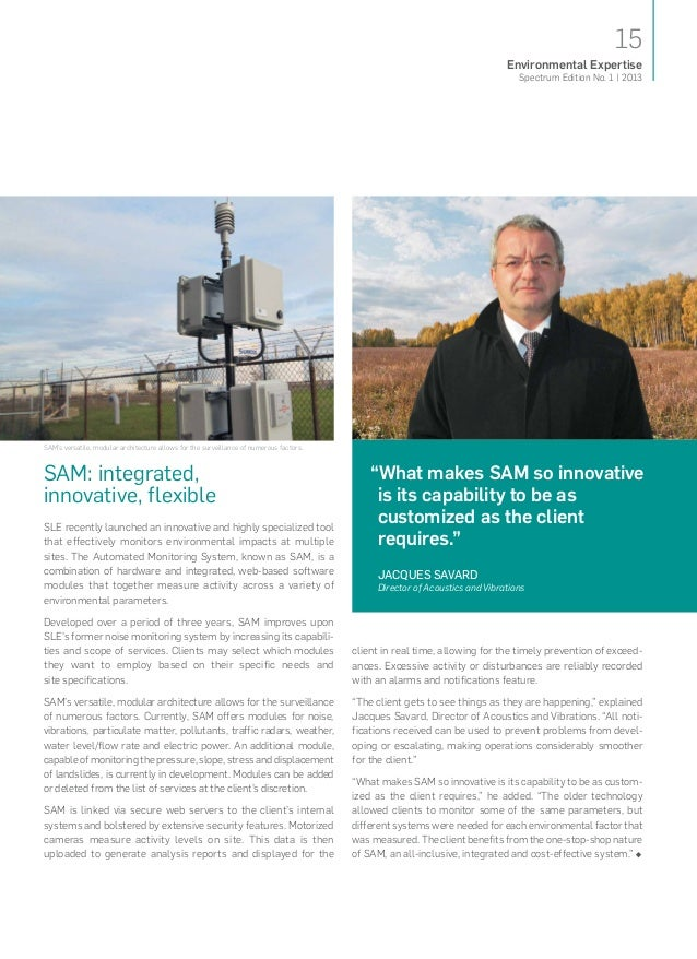 15Spectrum Edition No. 1   2013Environmental ExpertiseSAM: integrated,innovative,flexibleSLE recently launched an innovat...