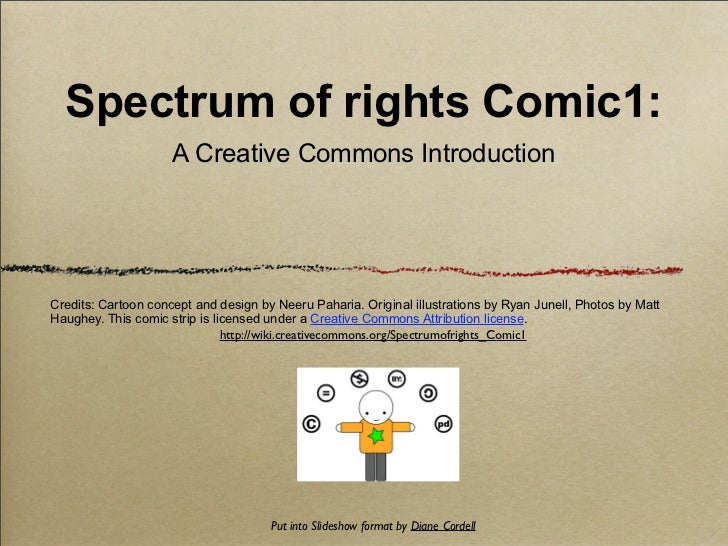 Spectrum of rights Comic1:                     A Creative Commons IntroductionCredits: Cartoon concept and design by Neeru...