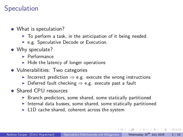 Speculation What is speculation? To perform a task, in the anticipation of it being needed. e.g. Speculative Decode or Exe...