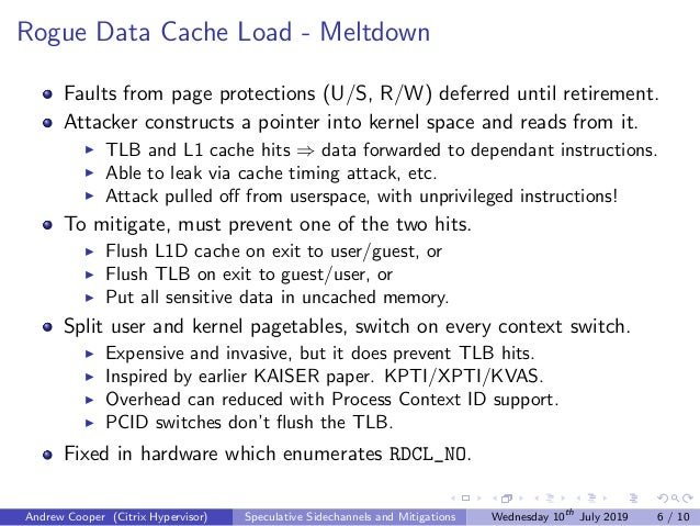 Rogue Data Cache Load - Meltdown Faults from page protections (U/S, R/W) deferred until retirement. Attacker constructs a ...