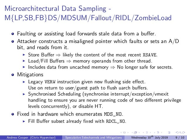 Microarchitectural Data Sampling - M{LP,SB,FB}DS/MDSUM/Fallout/RIDL/ZombieLoad Faulting or assisting load forwards stale d...