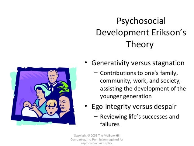 ego integrity Apr 12, '09 look at erikson's older adult stage of (ego) integrity vs despair where the person reviews life accomplishments, deals with loss and preparation for death that is what they are referring to.