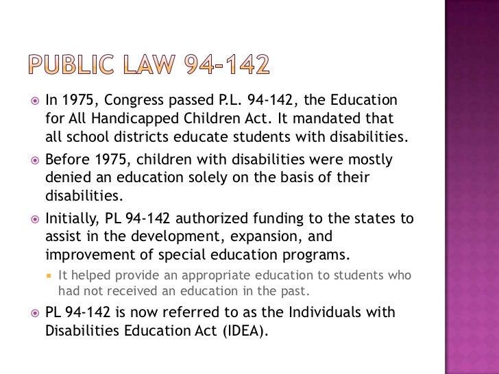 public law 94 142 requires