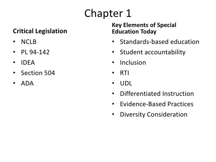 Chapter 1<br />Critical Legislation<br />Key Elements of Special Education Today<br />NCLB<br />PL 94-142<br />IDEA<br />S...