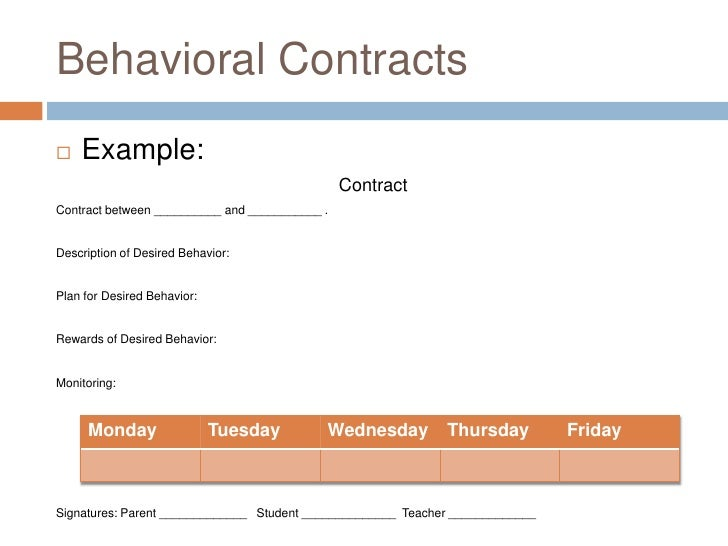 Sped 478 behavioral contracts – Behavior Contract