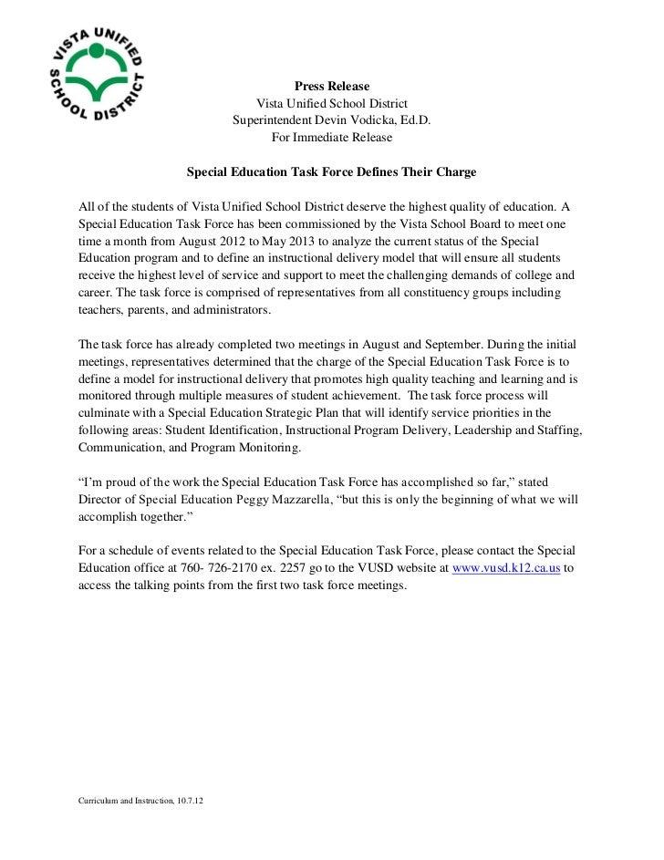 Press Release                                         Vista Unified School District                                      S...