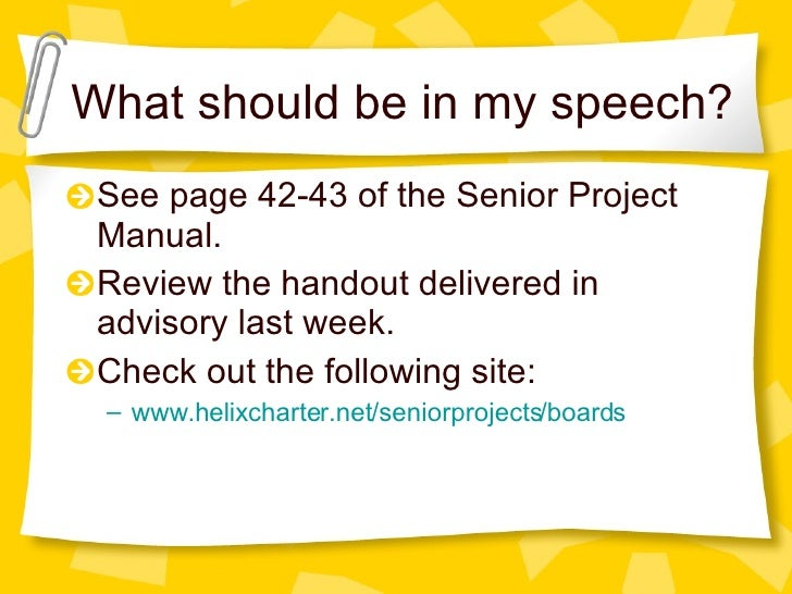 a report on doing my senior project The high school senior project ideas you aren't thinking about scroll these high school senior project ideas, that you can put together on your own or with the help of your classmates.
