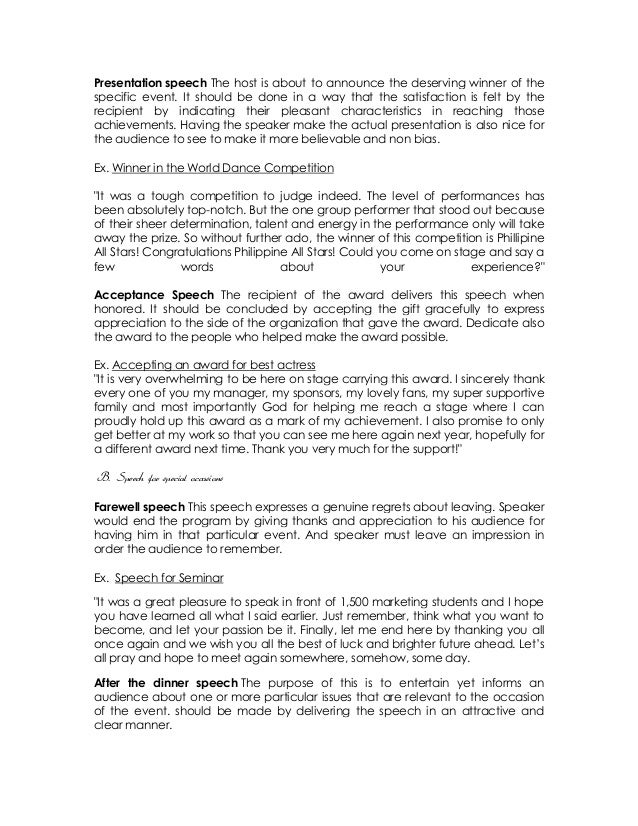 Impromptu Speech Template Demonstrative Speech Outline Template