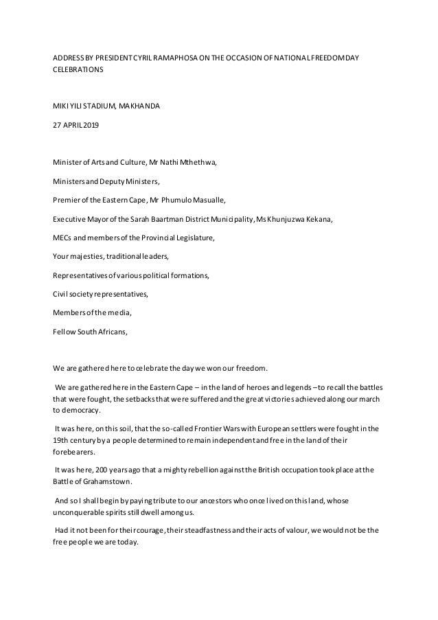 ADDRESSBY PRESIDENTCYRIL RAMAPHOSA ON THE OCCASION OFNATIONALFREEDOMDAY CELEBRATIONS MIKI YILI STADIUM, MAKHANDA 27 APRIL2...