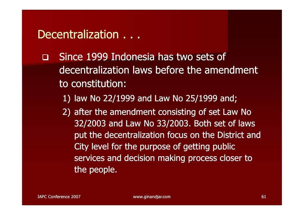 Decentralization and democratization in indonesia