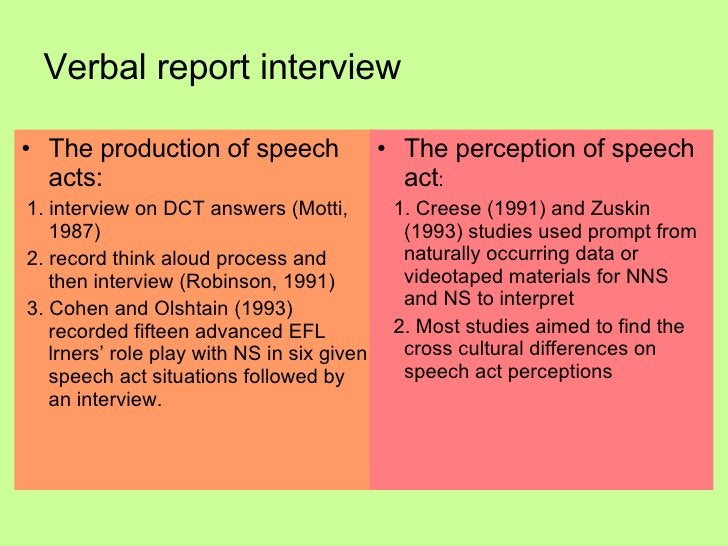 Verbal report interview <ul><li>The production of speech acts: </li></ul><ul><li>1. interview on DCT answers (Motti, 1987)...