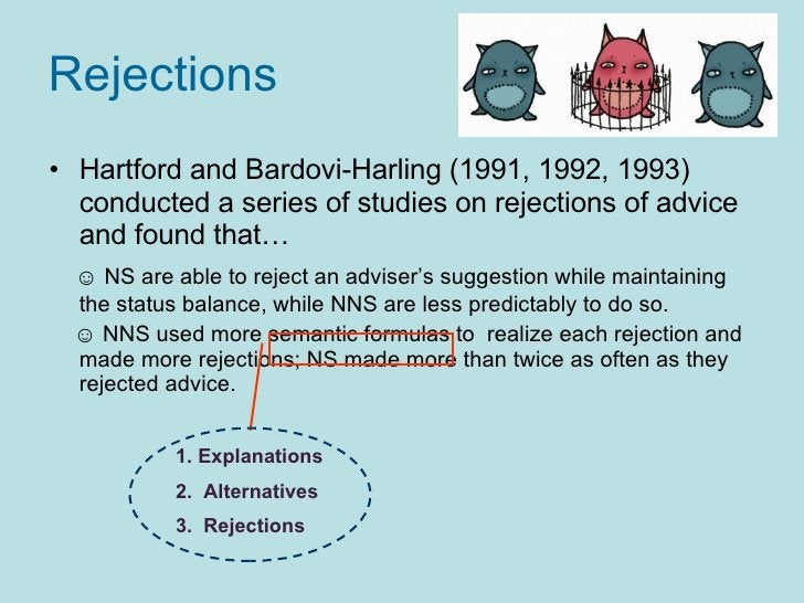 Rejections   <ul><li>Hartford and Bardovi-Harling (1991, 1992, 1993) conducted a series of studies on rejections of advice...