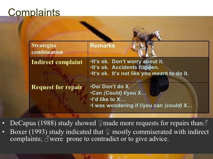 Complaints   <ul><li>DeCapua (1988) study showed  ♀made more requests for repairs than♂ </li></ul><ul><li>Boxer (1993) stu...