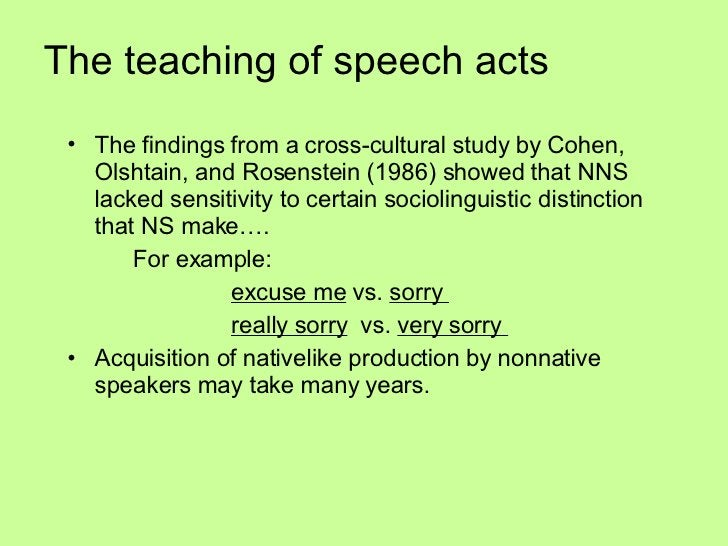 The teaching of speech acts   <ul><li>The findings from a cross-cultural study by Cohen, Olshtain, and Rosenstein (1986) s...