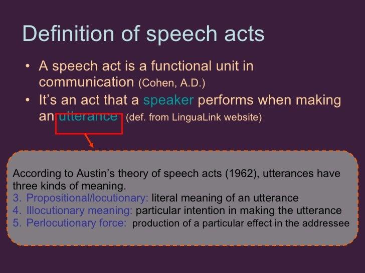 Definition of speech acts   <ul><li>A speech act is a functional unit in communication  (Cohen, A.D.) </li></ul><ul><li>It...