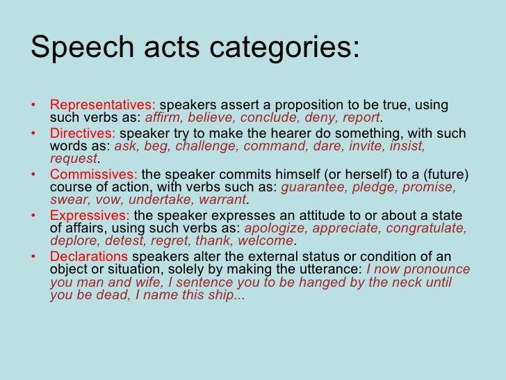 Speech acts categories:  <ul><li>Representatives:  speakers assert a proposition to be true, using such verbs as:  affirm,...