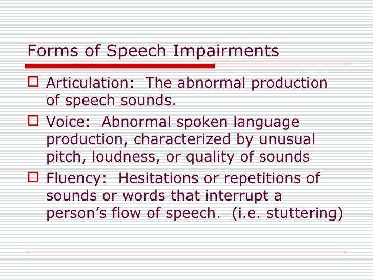 list of speech disorders