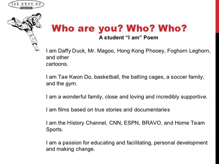 """Who are you? Who? Who?                      A student """"I am"""" PoemI am Daffy Duck, Mr. Magoo, Hong Kong Phooey, Foghorn Leg..."""