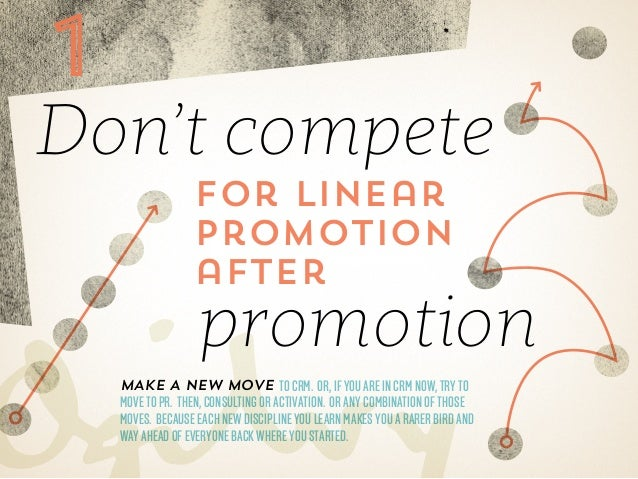 1  Don't compete for linear promotion after  promotion  Make a new move to CRM. Or, if you are in CRM now, try to  move to...