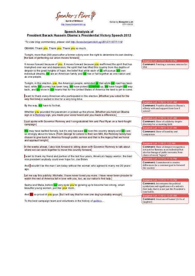 Speech analysis of President Obama's Presidential Victory Speech 2012