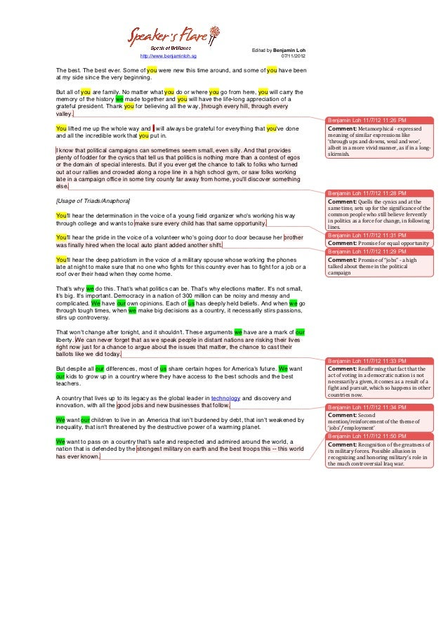 Analysis of President Obama's 2012 DNC Speech