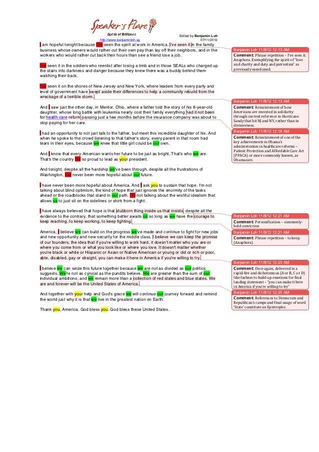 barack obama victory speech analysis