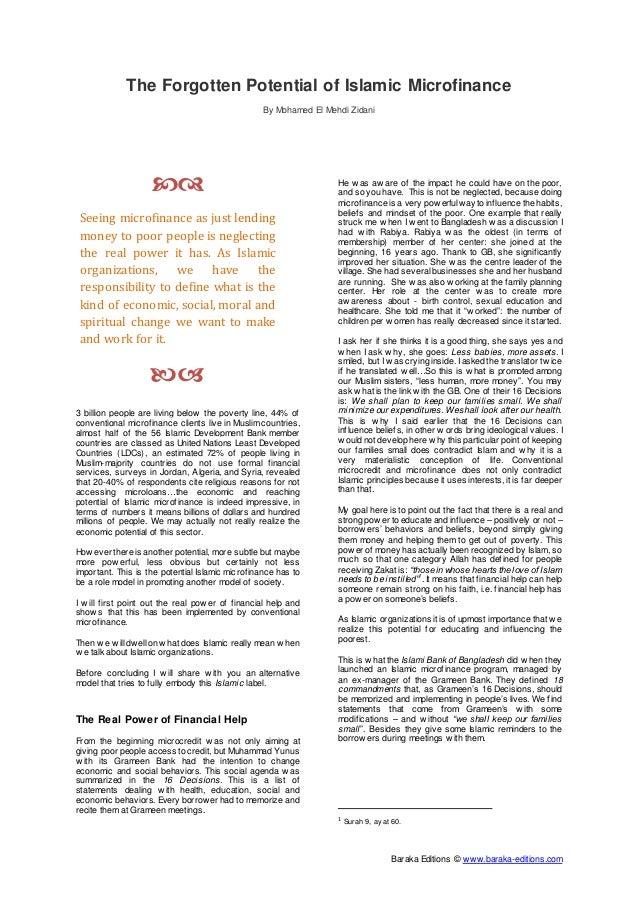 AlHuda CIBE - Islamic Microfinance - Speech article
