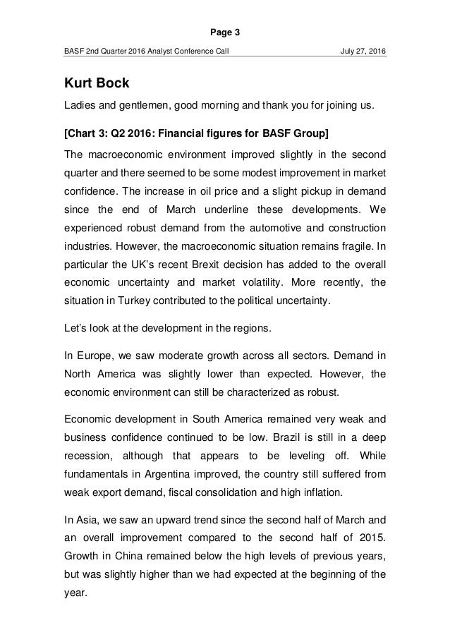 speech basf analyst conference call q  long