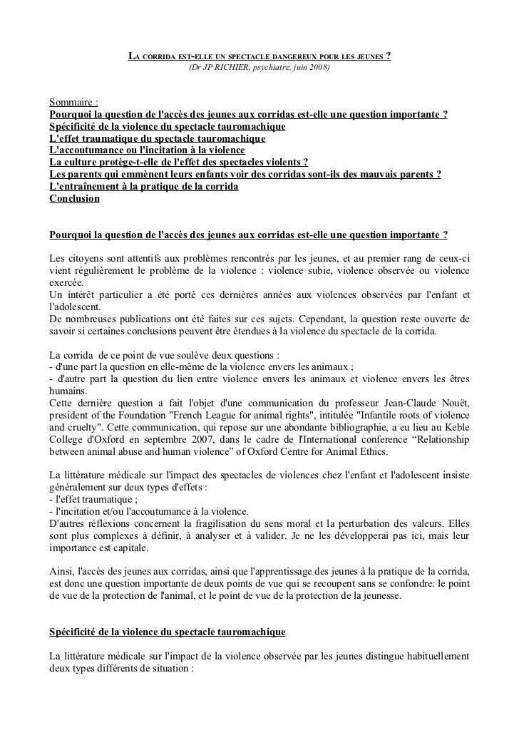 LA CORRIDA EST-ELLE UN SPECTACLE DANGEREUX POUR LES JEUNES ?                                  (Dr JP RICHIER, psychiatre, ...