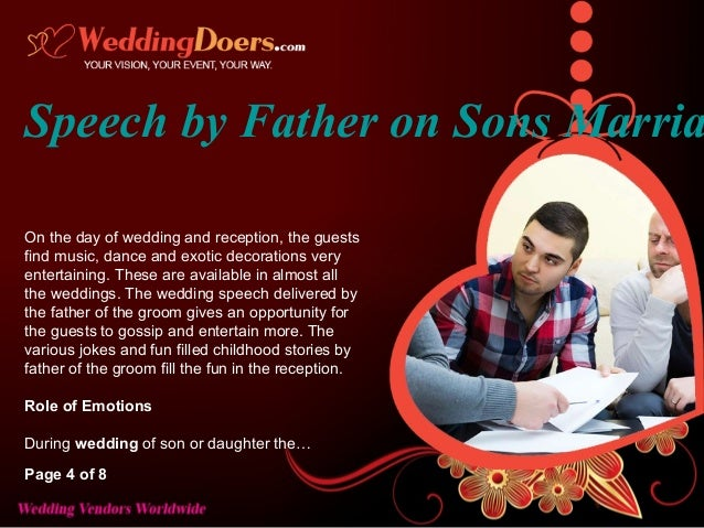 Speech By Father On Sons Marriage