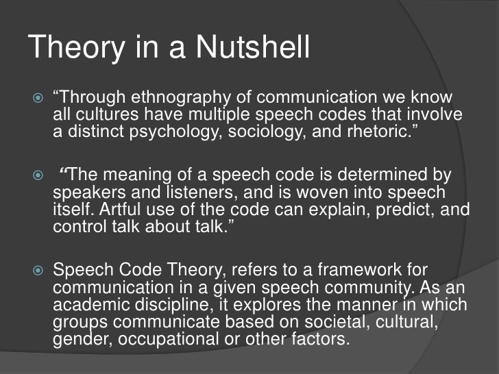 Speech Codetheory