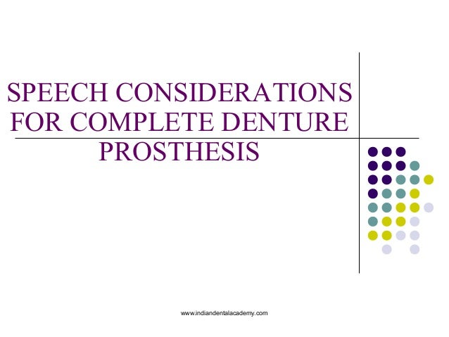 SPEECH CONSIDERATIONS FOR COMPLETE DENTURE PROSTHESIS www.indiandentalacademy.com