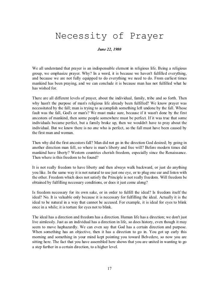 Speeches on prayer by Rev Sun Myung Moon