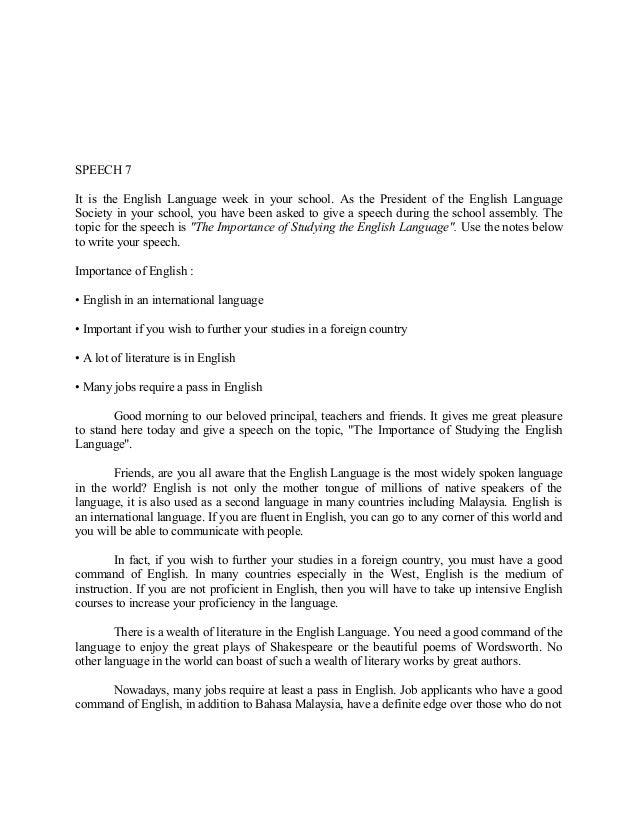 Superbe English Speech Essay