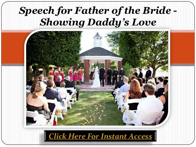 Speech for father of the bride showing daddy's love