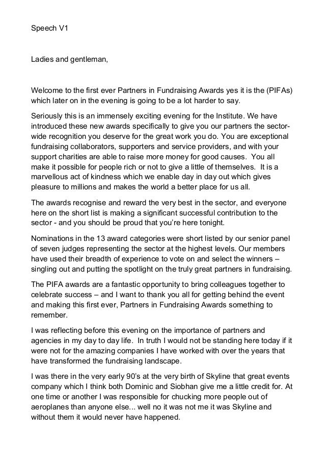 My Welcome Speech For Iof Pifa Awards V