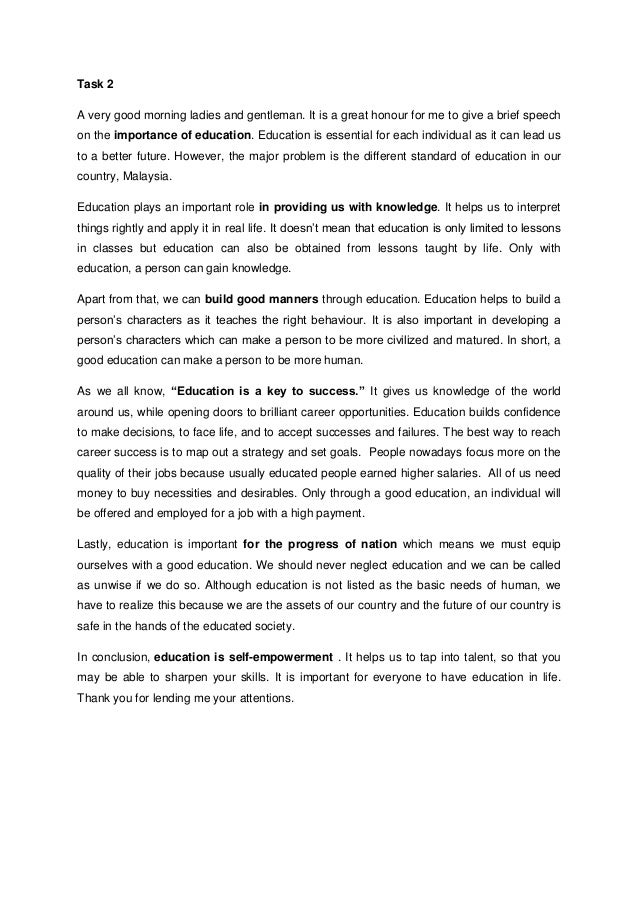 My Best Vacation Ever Essay Task  A Very Good Morning Ladies And Gentleman It Is A Great Honour For Essay Importance Of Education also Essay On Friendship Speech On Importance Of Education Legalization Of Cannabis Essay