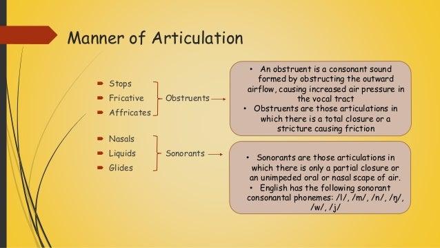 Speech Organ And Manner Of Articulation