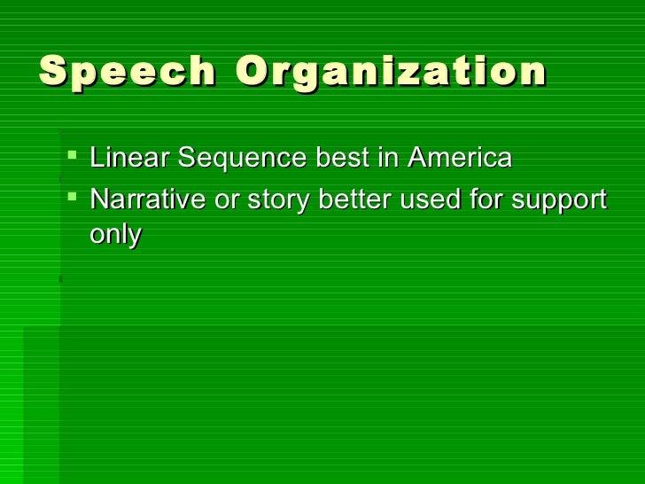 Speech Organization <ul><li>Linear Sequence best in America </li></ul><ul><li>Narrative or story better used for support o...