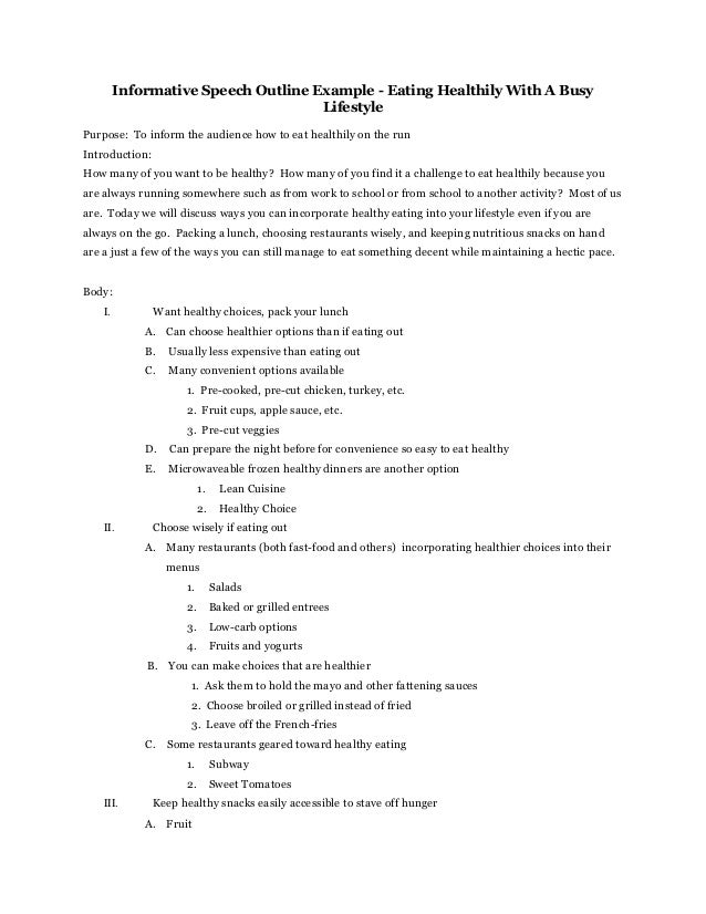 free informative speech outline When you download a free speech outline template sample, you will find that this premium template helps you to clarify what you wish to say to the audience as well as organize all the print material you have in an easy and reliable manner.