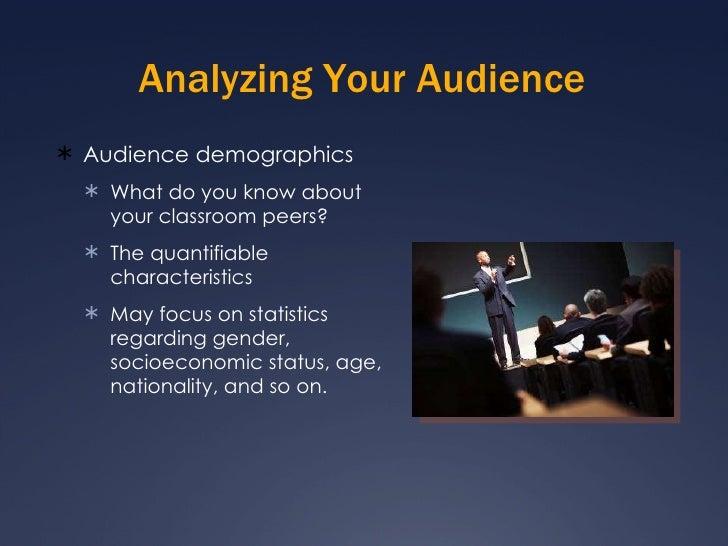 Analyzing Your Audience <ul><li>Audience demographics </li></ul><ul><ul><li>What do you know about your classroom peers? <...