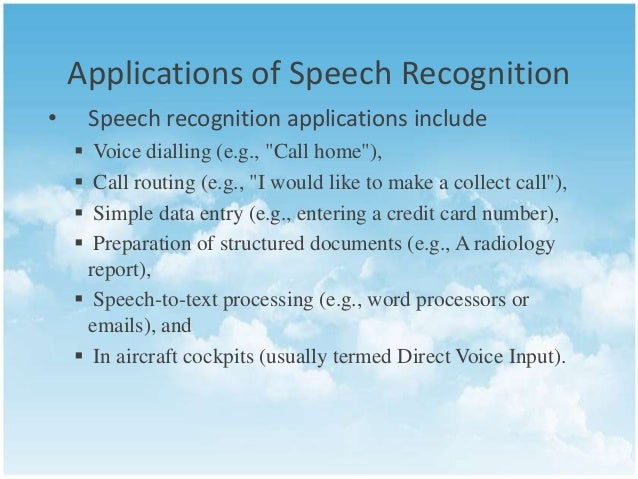 Speech Recognition An Overview