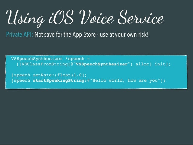 Speech Recognition and Speech Synthesis on iOS