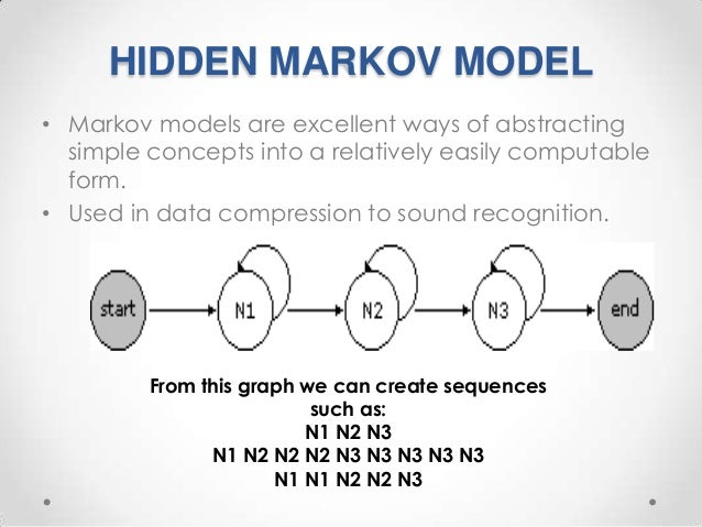 HIDDEN MARKOV MODEL • Markov models are excellent ways of abstracting simple concepts into a relatively easily computable ...