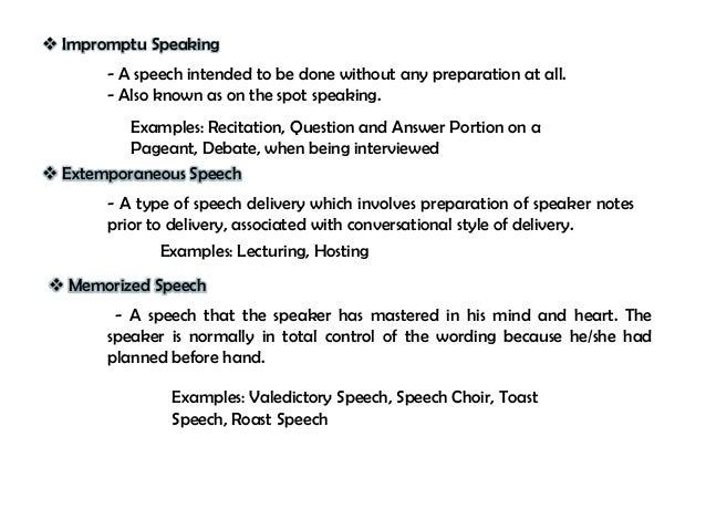 Extemporaneous speech introduction examples.